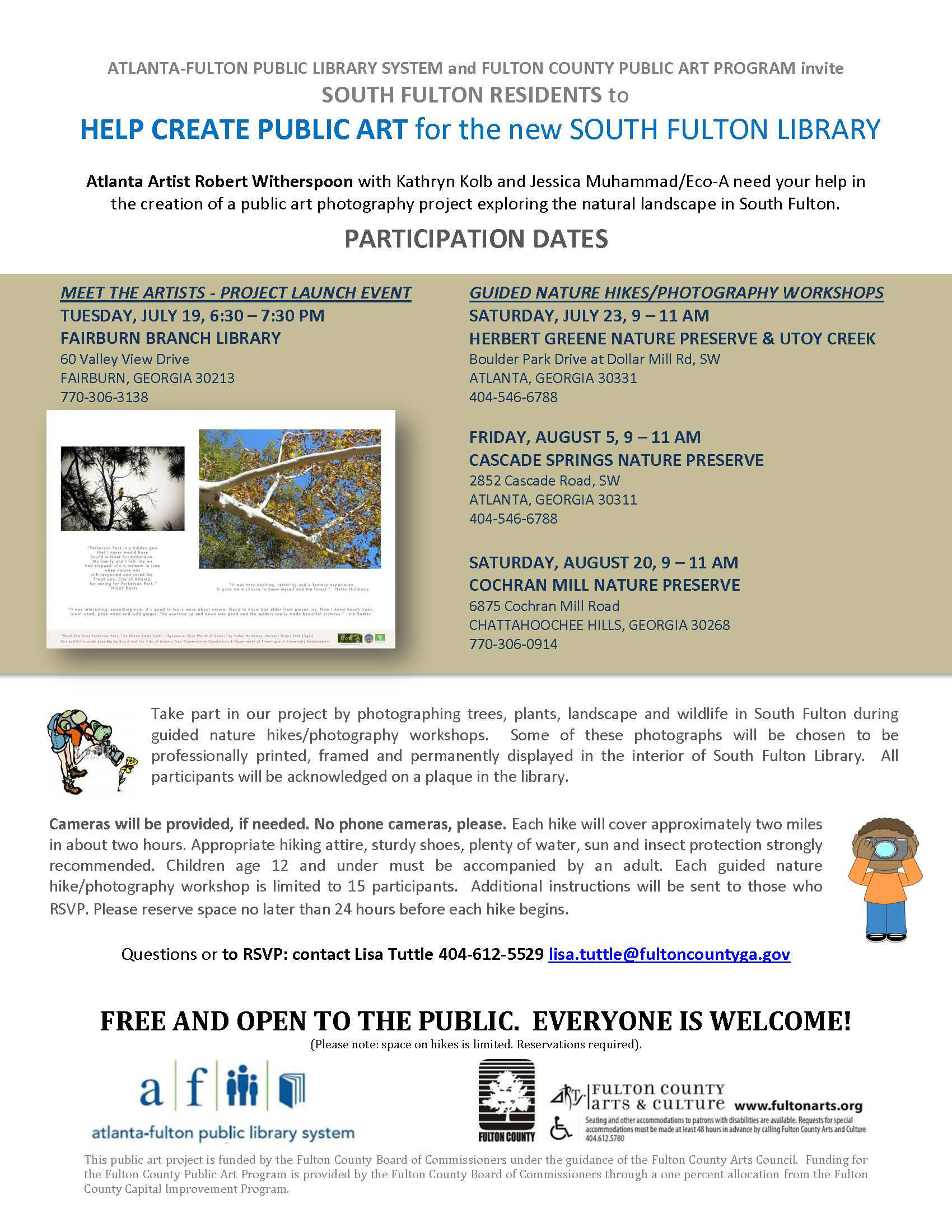 A text flyer wuth information about helping to create a public art piece for the new south fulton library.