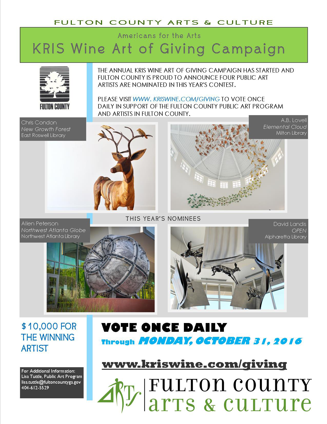 an event flyer with images of vartious artworks to vote on