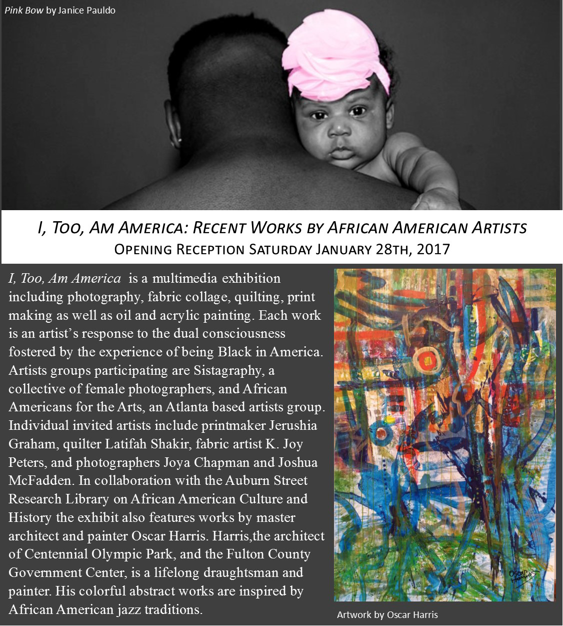 flyer for art exhibition with african american man holding a baby